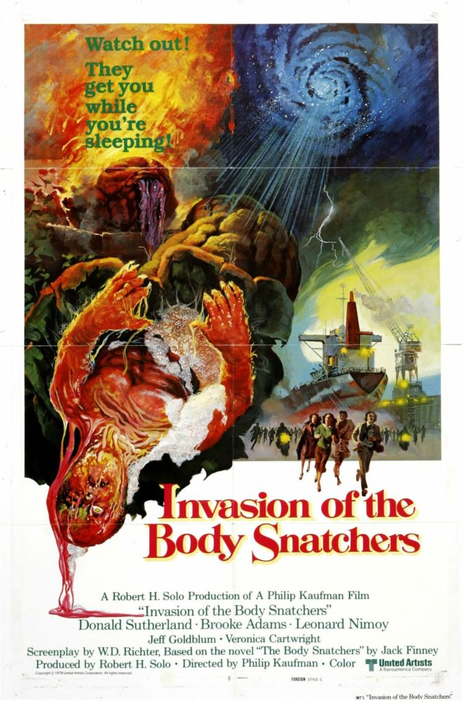 invasion of the body snatchers poster - a pod being expelled from the sky